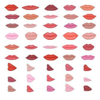 Trucco labbra belle labbra rosse in bacio sorriso o moda ragazze rossetto e bocca sexy baci adorabili il giorno di san valentino imposta illustrazione isolato su sfondo bianco