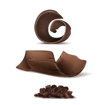 Trucioli di cioccolato realistico 3d. talee deliziose marrone per l'imballaggio, modello di pacchetto.