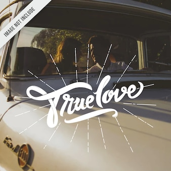 True love typography hand lettering