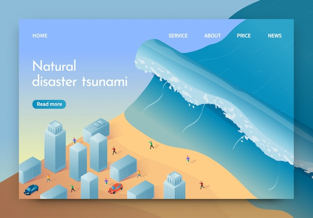 Tsunami di disastro naturale dell'illustrazione di vettore.