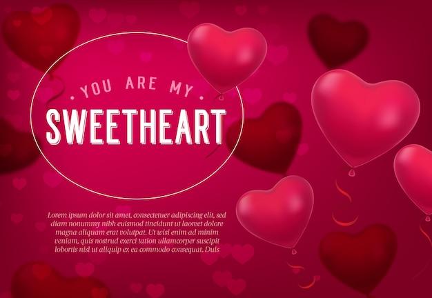 Tu sei il mio amore lettering con palloncini a forma di cuore