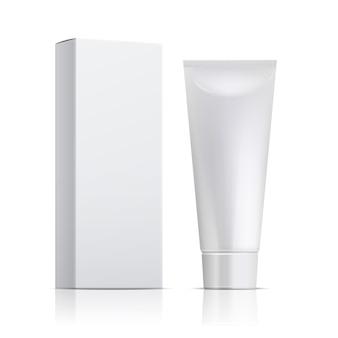 Tubetto di crema e confezione. scatola di unguento o dentifricio