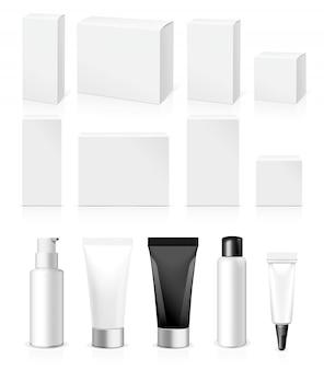 Tubi, barattolo e pacchetto realistici. cosmetici bianchi d'imballaggio e medicine isolati