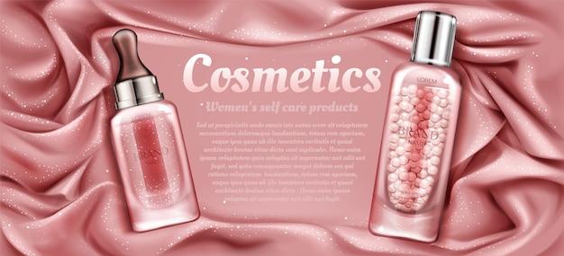 Tubi cosmetici di acqua di rose e crema.