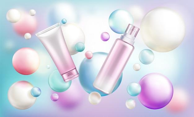 Tubi cosmetici di bellezza con pompa e tappo su arcobaleno sfocato