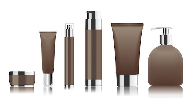 Tubi cosmetici marroni e contenitori con tappi e pompe argento