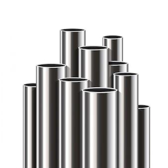 Tubi d'acciaio, alluminio, metallo, pila di tubi, pvc.