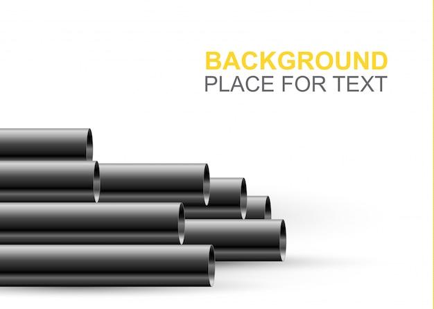 Tubi d'acciaio o di alluminio. design del tubo in acciaio lucido.