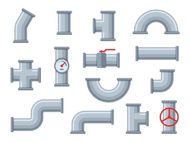 Tubi dell'acqua. diversi tipi di tubi in plastica, filtri per acque luride. valvola del rubinetto, insieme di elementi dell'impianto idraulico di costruzione dell'ingegnere dell'attrezzatura della conduttura industriale dei raccordi