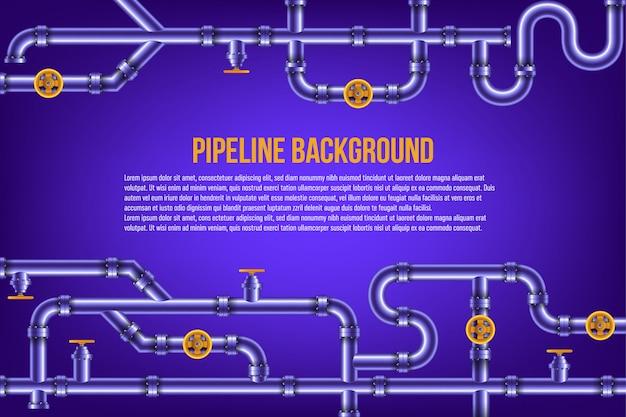 Tubi dell'acqua e del gas in una priorità bassa blu.