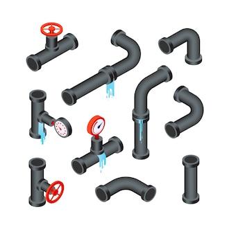 Tubi rotti. tubi della tubazione dell'acqua che perdono. insieme isolato vettore isometrico dell'icona del sistema idraulico di perdita 3d