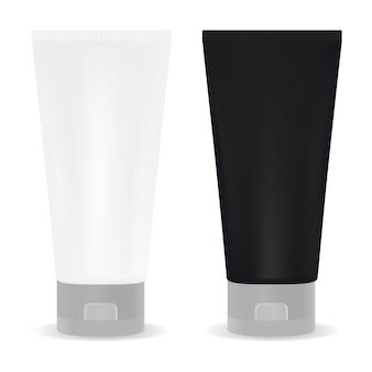 Tubo bianco e nero per la crema o un altro cosmetico. isolato