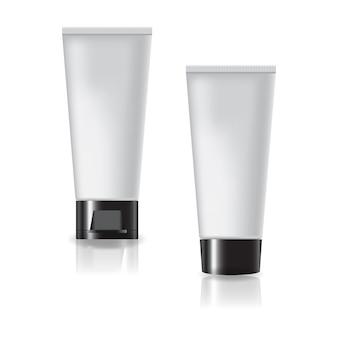 Tubo cosmetico bianco con tappo nero a due stili e coperchio a vite.