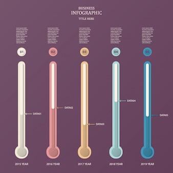 Tubo dell'esperimento, modello di infografica per le imprese. vettore per il concetto di linea del tempo.