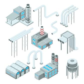 Tubo di fabbrica e set di edifici industriali. immagini in stile isometrico