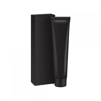 Tubo di plastica con scatola nera per medicina o cosmetici.