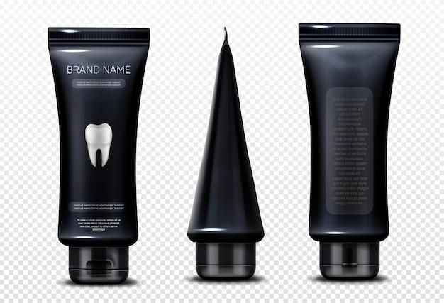 Tubo nero con dentifricio in pasta isolato