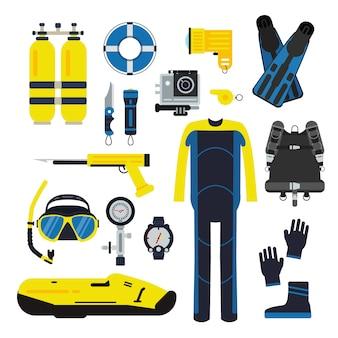 Tuffatore e set elementi per lo sport subacqueo. illustrazioni di immersioni in stile piatto