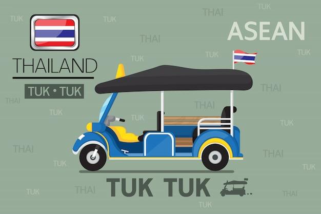 Tuk tuk nella progettazione del fumetto di vettore di trasporto pubblico della tailandia.