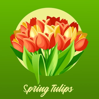 Tulipani di primavera per biglietto di auguri