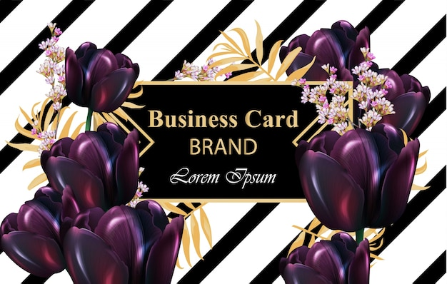 Tulipani neri carta di lusso vettoriale. bella illustrazione per invito, matrimonio, libro di marca, biglietto da visita o poster. posto per i testi