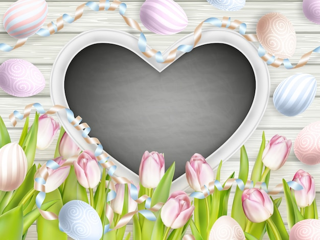 Tulipani rosa con lavagna vuota.