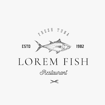 Tuna fish disegnata a mano con il segno, il simbolo o il modello astratto di classe di retro tipografia.
