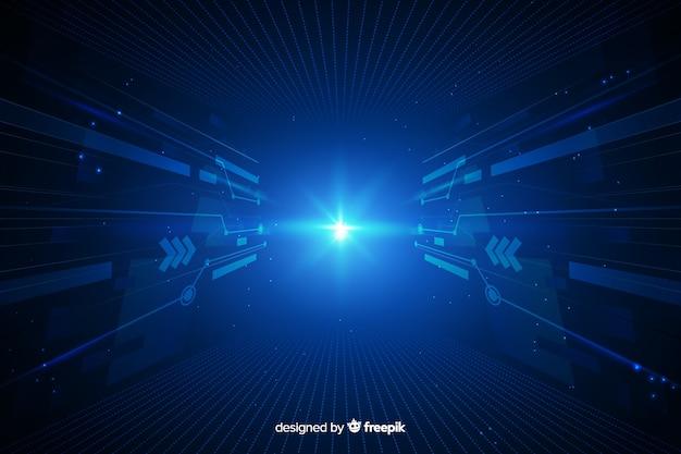 Tunnel di luce digitale con sfondo scuro