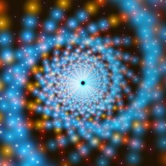 Tunnel di turbinio infinito vettoriale di brillanti razzi sullo sfondo. effetto frattale. i punti luminosi formano settori del tunnel.