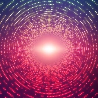 Tunnel rotondo infinito di brillamenti luminosi su sfondo viola