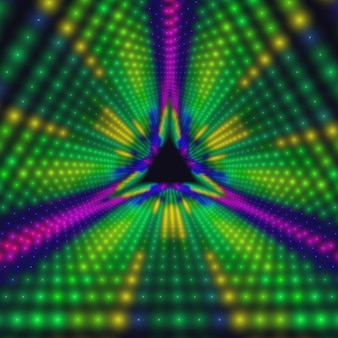 Tunnel triangolare infinito di cerchi colorati