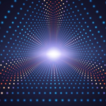 Tunnel triangolare infinito di vettore di cerchi colorati su sfondo scuro. le sfere formano settori di tunnel.