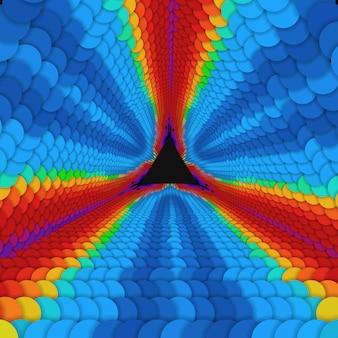 Tunnel triangolare infinito di vettore di cerchi colorati su sfondo scuro. sfere formano settori di tunnel.