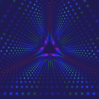 Tunnel triangolare infinito di vettore di razzi luminosi
