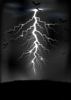 Tuono del lampo con un'illustrazione dei pipistrelli