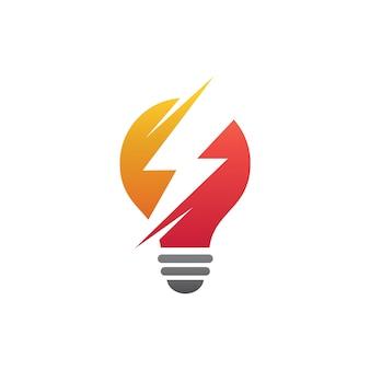 Tuono in lampadina logo vettoriale
