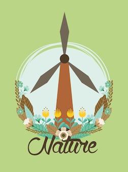 Turbina di energia eolica con progettazione dell'illustrazione di vettore del giardino di fiori