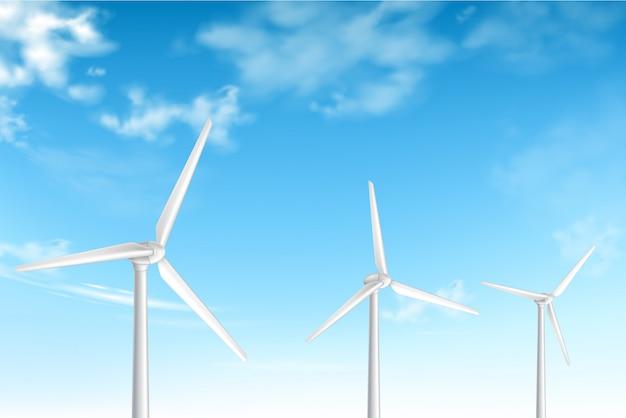 Turbine eoliche su sfondo nuvoloso cielo blu