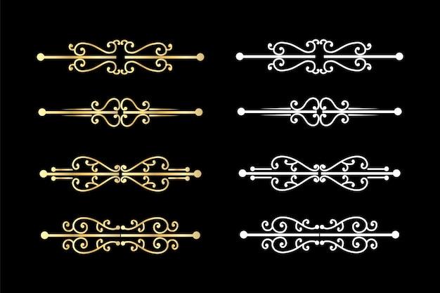 Turbinii decorativi divisori vecchio delimitatore di testo, ornamenti calligrafici di turbinio e divisore vintage, bordi retrò.