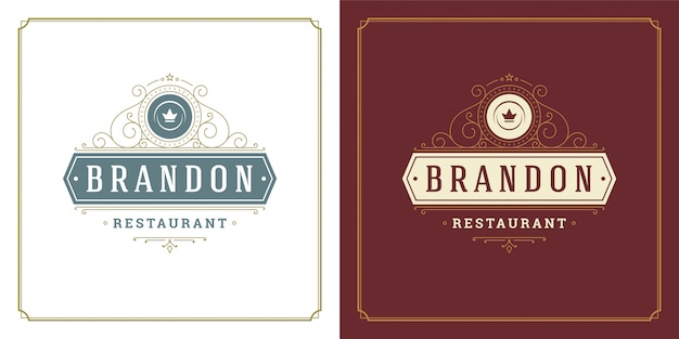 Turbinii di simbolo e di ornamento del piatto del piatto dell'illustrazione del modello di logo del ristorante buoni per il segno del caffè e del menu.