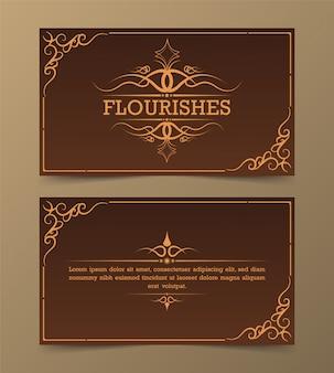 Turbinii e scenette decorati di calligrafia della cartolina d'auguri dell'ornamento dell'annata