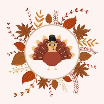 Turchia di ringraziamento con foglie d'autunno