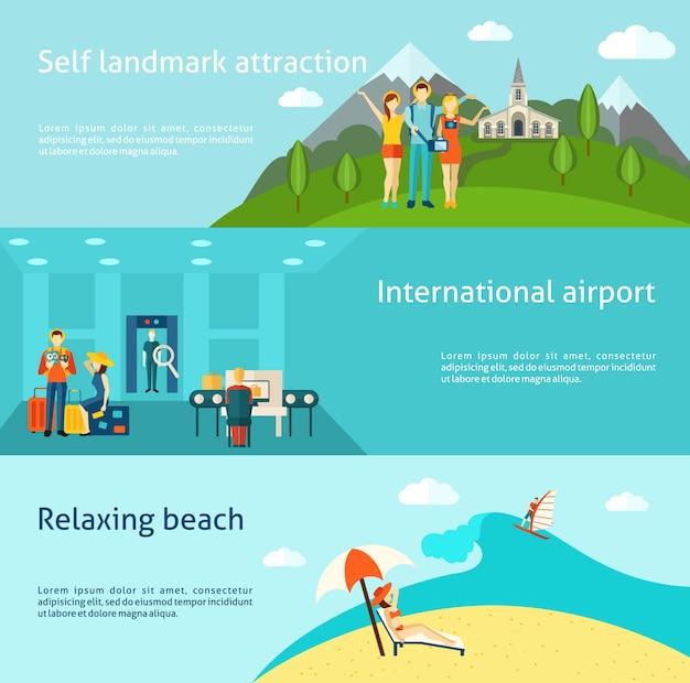 Turismo che viaggia insegne orizzontali piane impostate