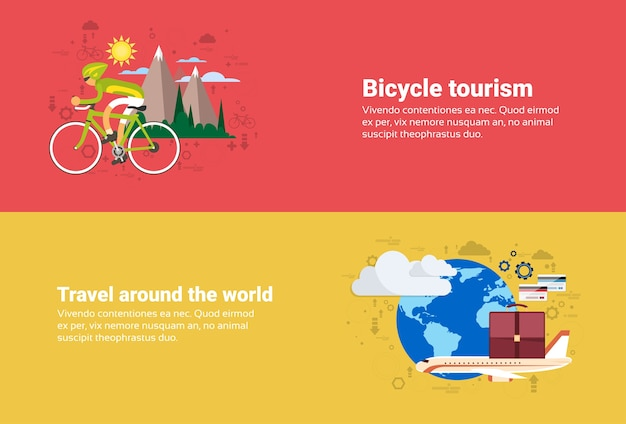Turismo della montagna di viaggio della bicicletta, intorno all'illustrazione piana di vettore dell'insegna di web di viaggio del mondo