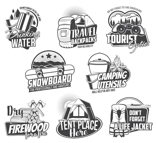 Turismo di viaggio e icone di campeggio