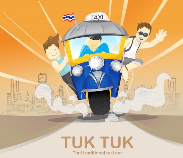 Turismo su tuk tuk che guida per viaggiare