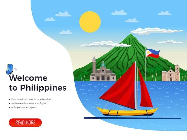 Turismo sulla barca a vela delle filippine nella pagina di atterraggio del mare blu