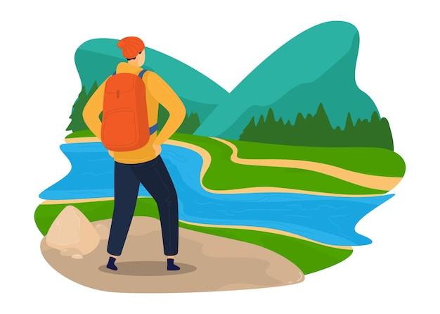 Turismo verde, viaggi nella natura, ambiente colorato, paesaggio estivo, illustrazione in stile cartone animato di design, isolato su bianco. escursionismo, uomo con zaino che viaggia all'aperto, foresta di conifere del fiume.