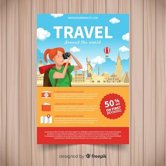 Turista che cattura un modello di volantino di viaggio di foto