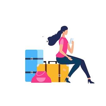 Turista che viaggia con il concetto piano di vettore dei bagagli